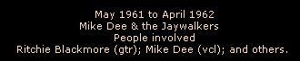 May 1961 to April 1962